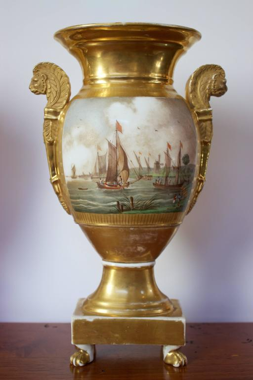 Pair of Empire Period Porcelain Vases with Maritime Scene 2