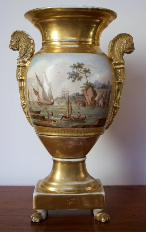 Pair of Empire Period Porcelain Vases with Maritime Scene 3