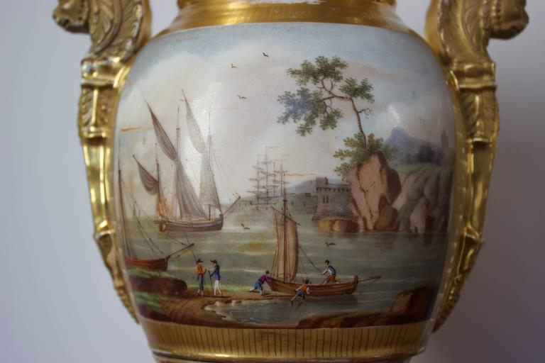 Pair of Empire Period Porcelain Vases with Maritime Scene 4