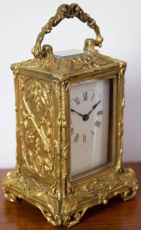 Antique French Art Nouveau Gilt Bronze Carriage Clock 2