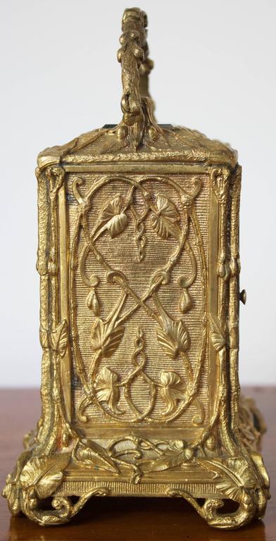 Antique French Art Nouveau Gilt Bronze Carriage Clock 3