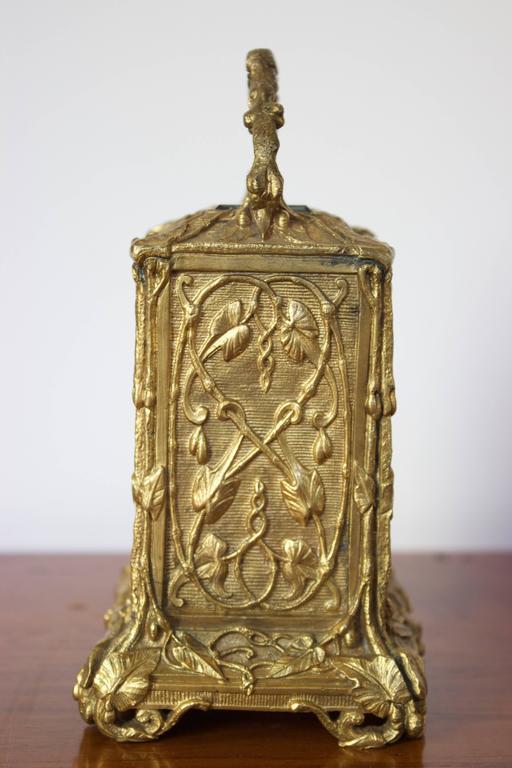 Antique French Art Nouveau Gilt Bronze Carriage Clock 5