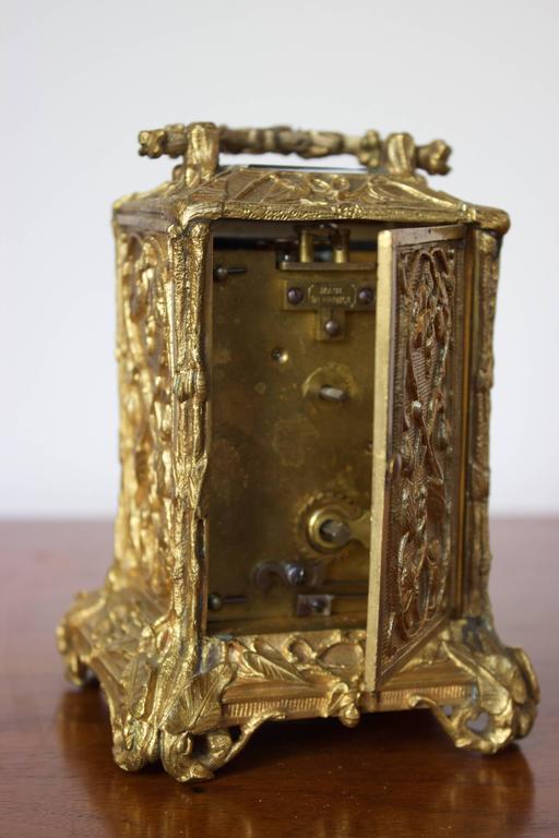 Antique French Art Nouveau Gilt Bronze Carriage Clock 6