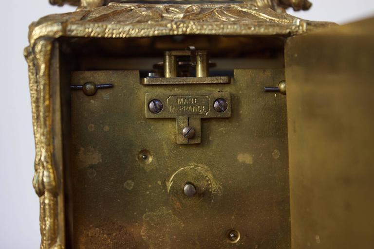 Antique French Art Nouveau Gilt Bronze Carriage Clock 7