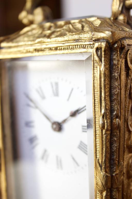 Antique French Art Nouveau Gilt Bronze Carriage Clock 8