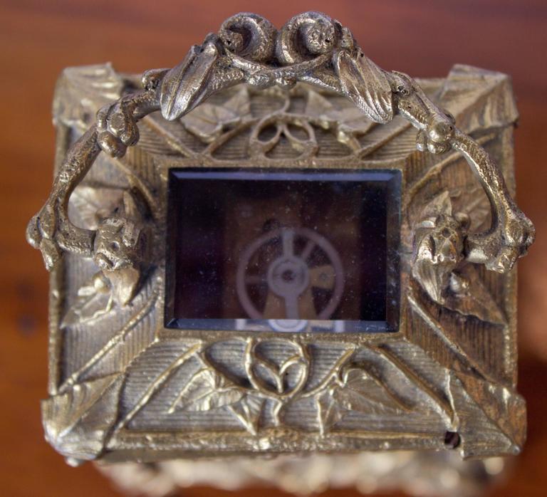 Antique French Art Nouveau Gilt Bronze Carriage Clock 9