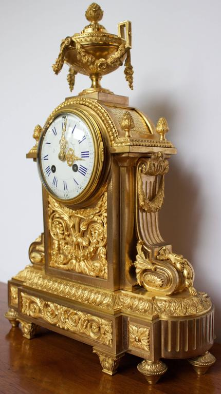 French Napoleon III Period Mantel Clock in Dore Bronze 2