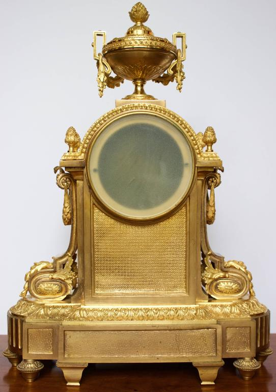 French Napoleon III Period Mantel Clock in Dore Bronze 4