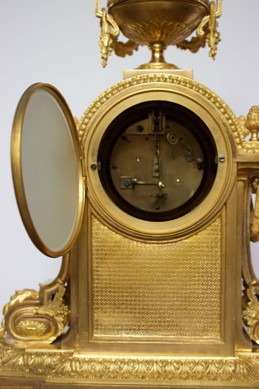 French Napoleon III Period Mantel Clock in Dore Bronze 5
