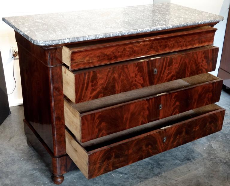 French Louis Philippe Period Commode in Flamed Mahogany 3