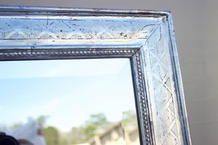 Large Rectangular French Louis Philippe Style Silver Leafed Wood Mirror 3