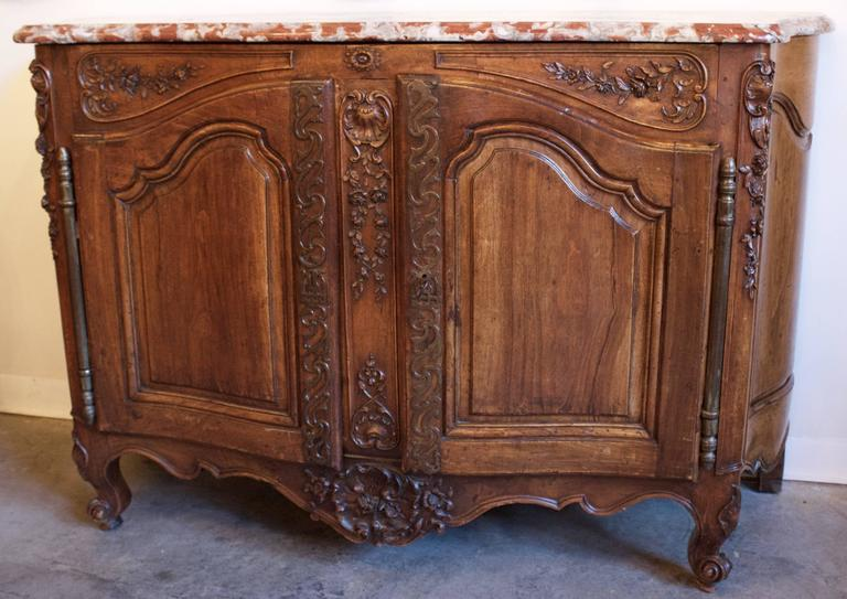 "Exceptional Louis XV Pd Carved Walnut and Marble Top ""Buffet de Chasse"" 2"