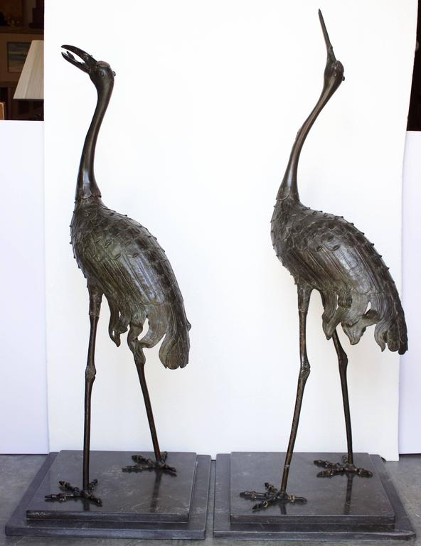 Elegant pair of bronze cranes of the Meiji Pd with finely detailed beak, feathers, legs and feet. Raised on black granite base (recent). Probably sculpted as garden ornament in a bronze body with green color and red spot on top of the head.