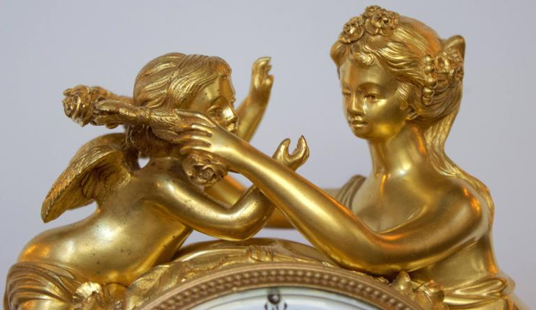 French 19th Century Gilt Bronze and Marble Mantel Clock of Psyche and Eros For Sale 2