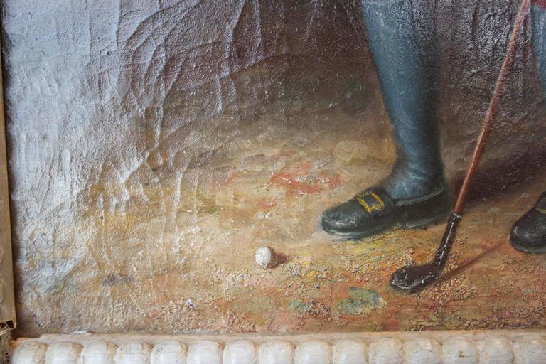 Other 19th Century English Painted Trumeau Representing a Young Golfer For Sale