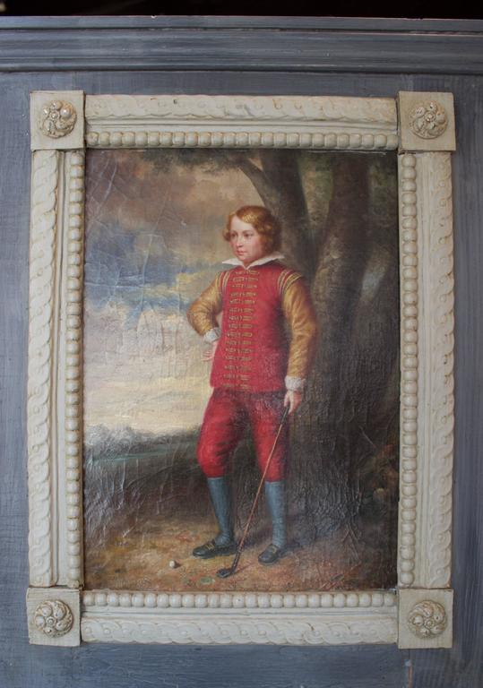 Late 19th Century 19th Century English Painted Trumeau Representing a Young Golfer For Sale