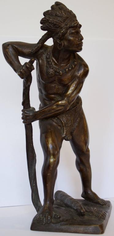 French, 19th Century Bronze Sculpture of American Indian Chief 2
