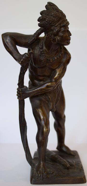 French, 19th Century Bronze Sculpture of American Indian Chief 8