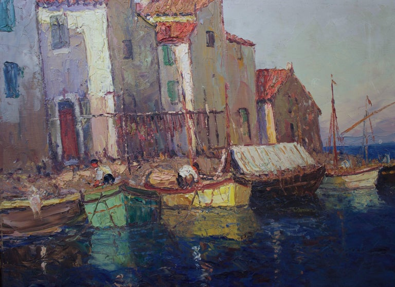 """Oil on canvas representing """"Martigues le Brescon"""" called also """"La petite Venise Provencale"""" by Vincent Manago (French 1880-1936). Martigues is a city next to Marseille and had a small fisherman port represented here. V.Manago specialized in Marines"""