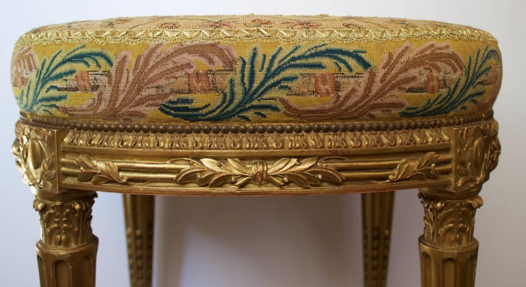 French Louis XVI Pd Stool in Giltwood and Petit-Point Tapestry 2
