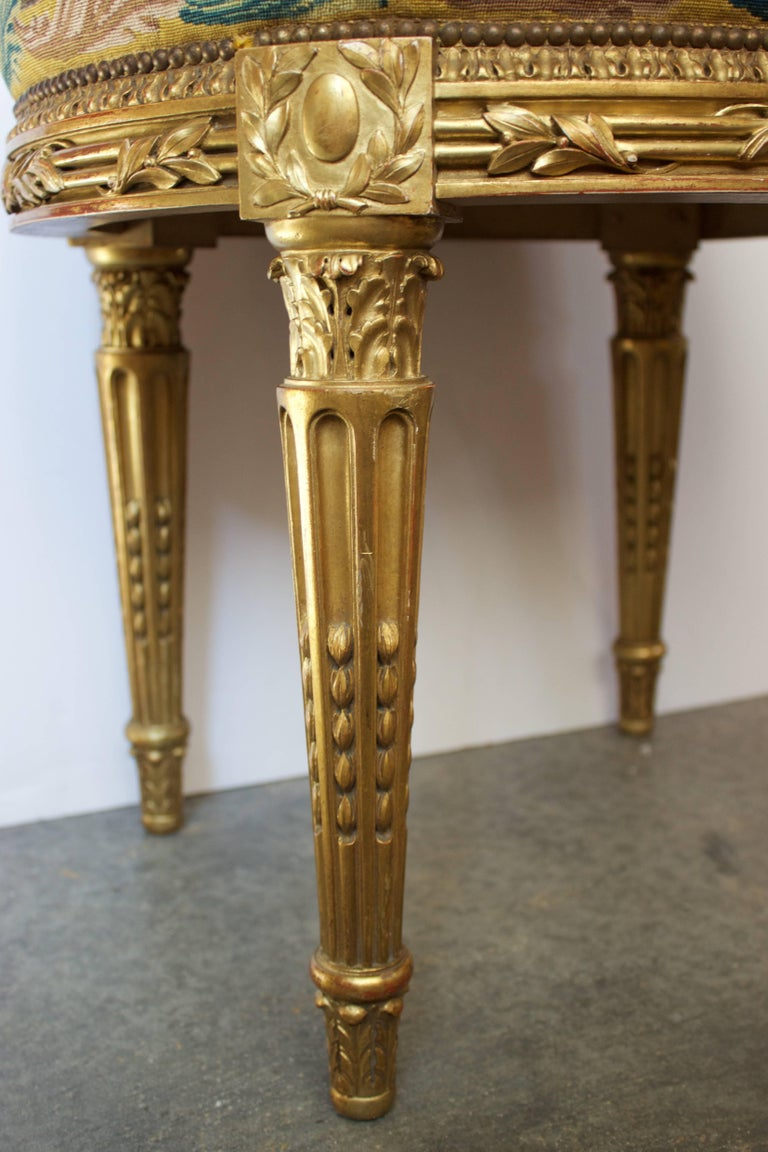 French Louis XVI Pd Stool in Giltwood and Petit-Point Tapestry 4