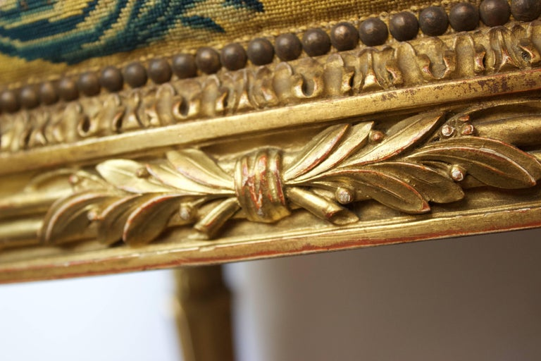 French Louis XVI Pd Stool in Giltwood and Petit-Point Tapestry 6