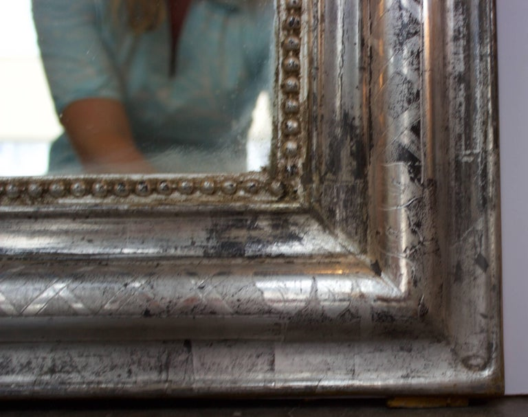 Mid-19th Century French Silver Louis Philippe Mirror, circa 1840 For Sale