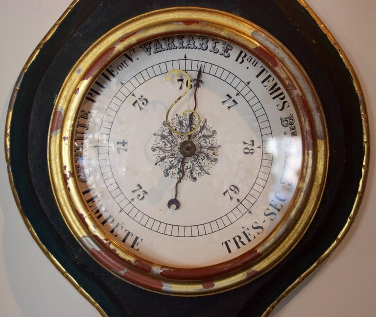 French Louis XVI Pd. Giltwood Barometer and Thermometer 4