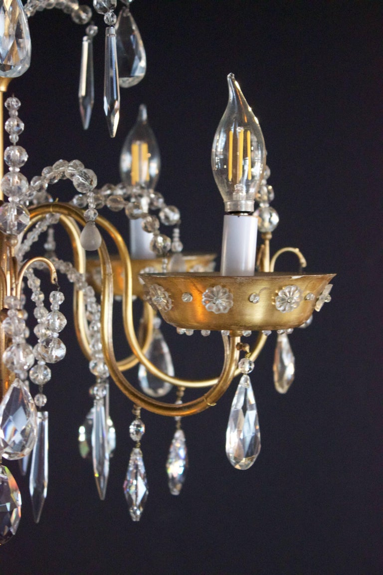 French Art Deco Chandelier with Four Lights by Maison Jansen In Excellent Condition For Sale In Charleston, SC