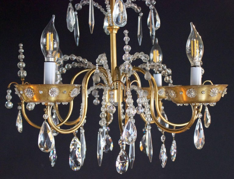 Mid-20th Century French Art Deco Chandelier with Four Lights by Maison Jansen For Sale
