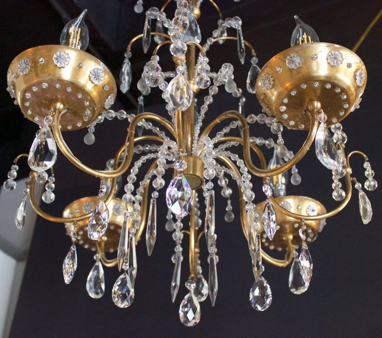 Brass French Art Deco Chandelier with Four Lights by Maison Jansen For Sale