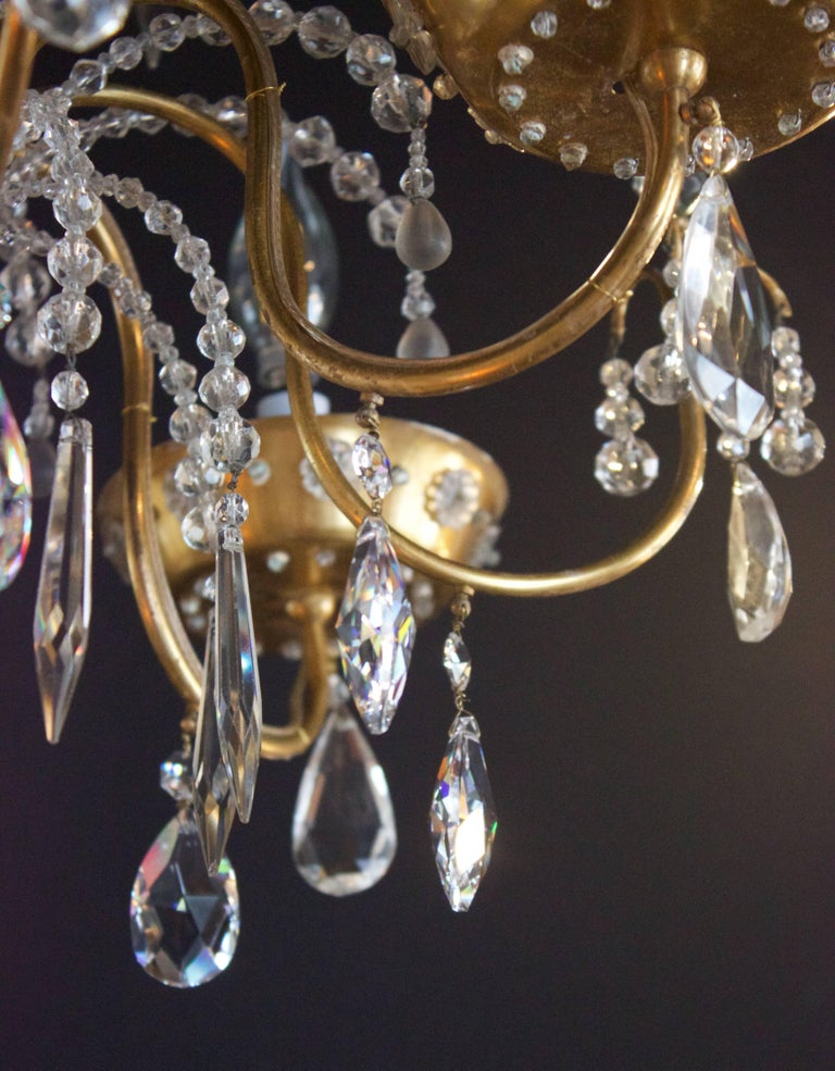 French Art Deco Chandelier with Four Lights by Maison Jansen For Sale 1