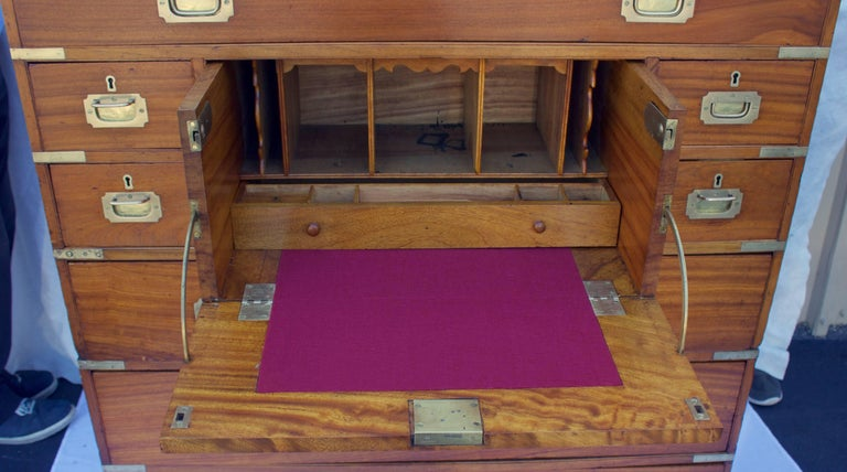 British Colonial British Officers Campaign Chest with Desk For Sale