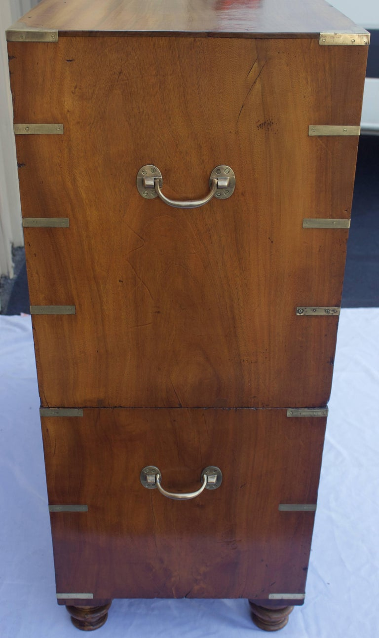 Hand-Crafted British Officers Campaign Chest with Desk For Sale