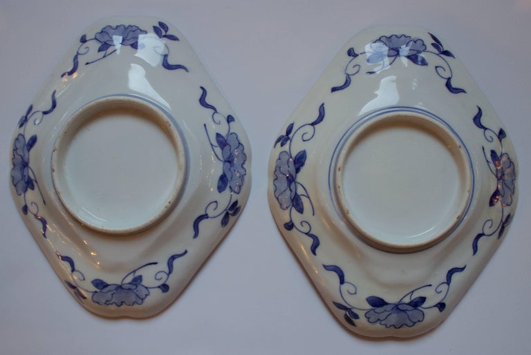 An unusual 19th century Imari plates in a diamond shape. Hand-painted and quite lovely.