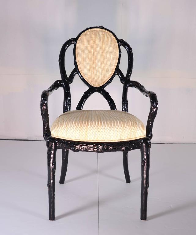 Set Of Eight Faux Bois Dining Chairs In Black Lacquer For