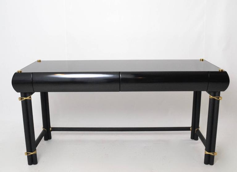 Lacquer And Metal Desk With Brass Detail At 1stdibs