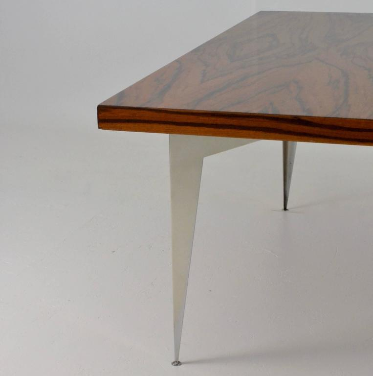 Exotic Glass Coffee Tables: Modernist Exotic Wood And Steel Cocktail Table, Circa