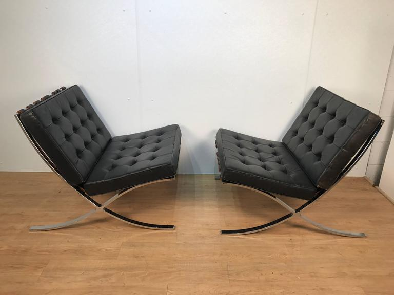 A Pair Of Knoll Barcelona Chairs, Great Vintage Examples Of The Iconic Mies  Van Der
