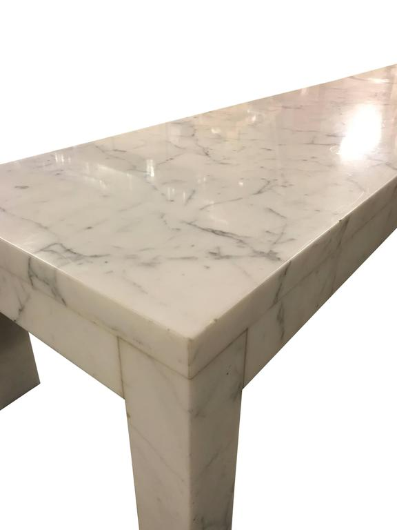 Stunning Italian Mid Century Modern Carrera Marble Long Cocktail Or Coffee Table For Sale At 1stdibs