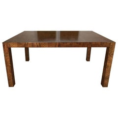 Stunning Burl Wood Parsons Dining Table by Milo Baughman