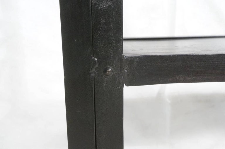 20th Century Large and Narrow Industrial Blackened Iron and Steel Bookcase or Etagere For Sale