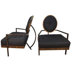 Pair of French Modern Club Chairs, in the Manner of Arbus