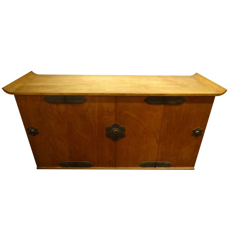 Midcentury Asian Teak Credenza or Sideboard by Mildred Warder