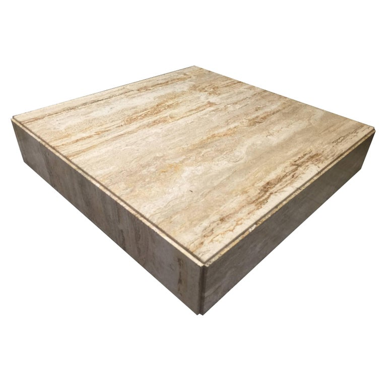 Milo Baughman Travertine Cocktail Table