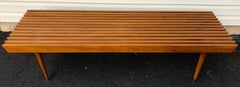 Midcentury Walnut Slat Bench or Table, in the Manner of George Nelson