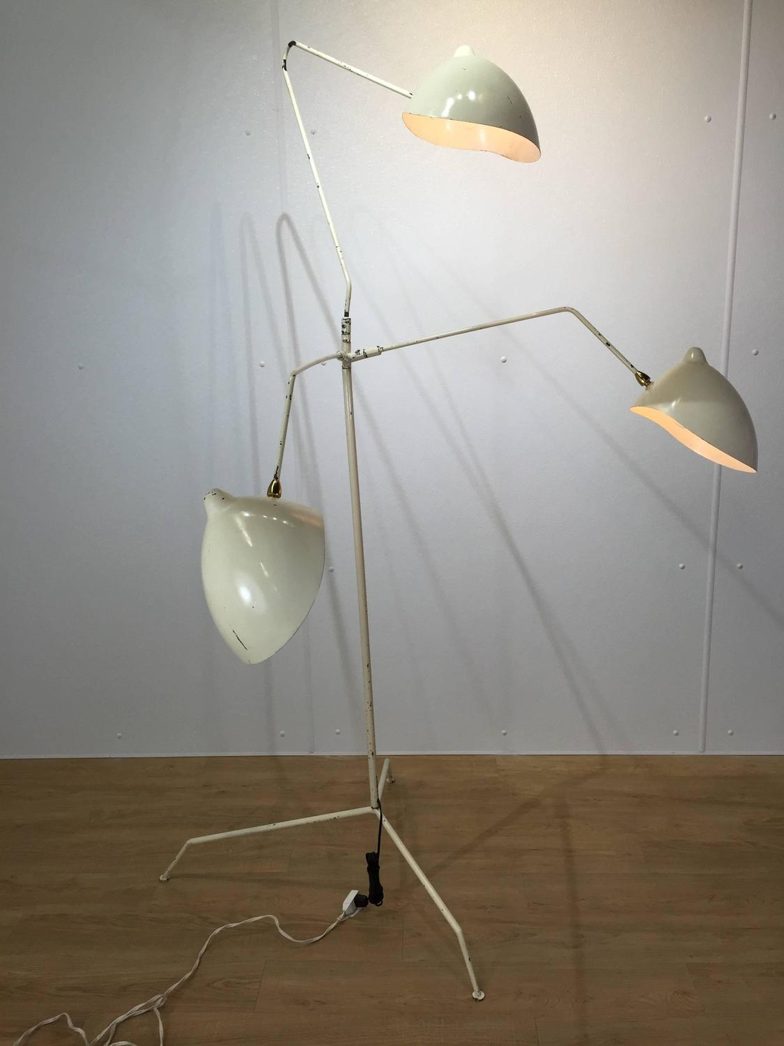 In the style of serge mouille three arm floor lamp for Serge mouille three arm floor lamp