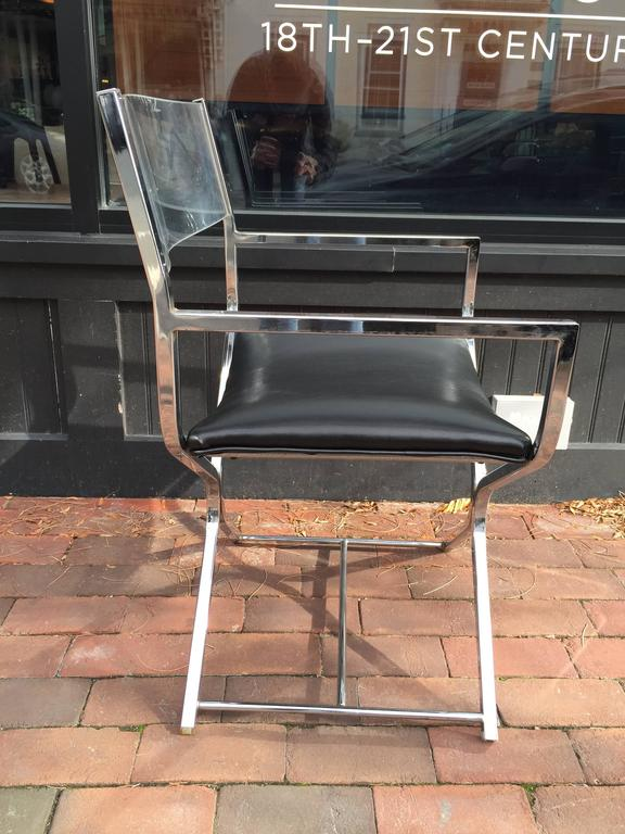 Pair Of Lucite And Chrome Directors Chairs Each One With Curved Backrests