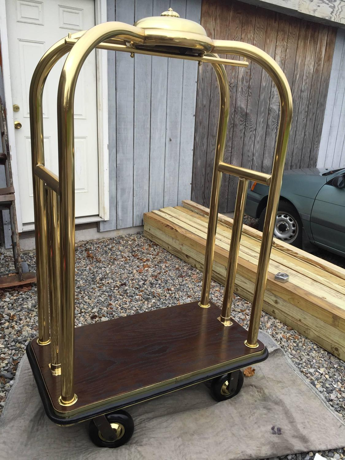 Vintage Brass Hotel Luggage Cart For Sale At 1stdibs