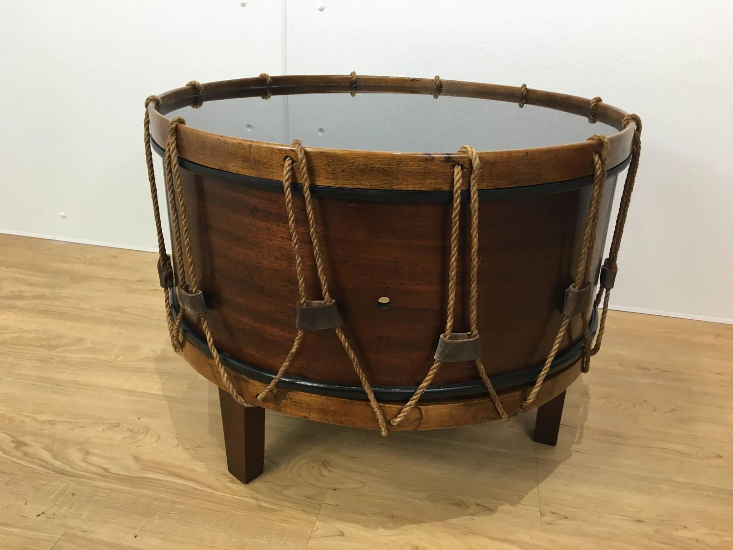 United States Military Drum Cocktail Table At 1stdibs